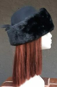 Faux fur and wool 1950's Cossack style hat by 'Ultra Hats' size 55cm