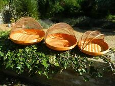 Food Cover Carrier Fruit Bowl - Set of 3 Bamboo Brown Netting Food Covers