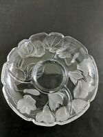 Vintage Floral Platter Clear Glass Cheese Chips Dip Tray (G)