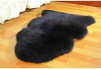 105cm Ultra Fleece Single Black Sheepskin Rug Sanitized Australian Lambskin