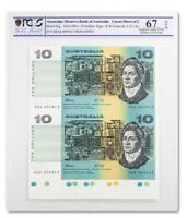1991 Australia $10 Banknote Fraser Cole Uncut Pair Superb Gem Unc 67 OPQ PCGS