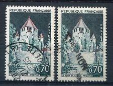 FRANCE 1963 timbre 1392Aa, variété TOIT GRIS, PROVINS, TOUR, oblitéré, CANCEL