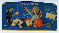 Adorable 1950s West German Needle Booklet with Dog & Cat Sewing
