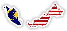 Sticker Silueta Malasia Mapa Bandera Para Parachoques Guitarra Patineta Locker Tablet