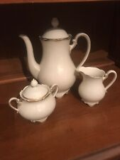 Vintage Lettin Coffee Service, White With Gold Trim, 5 Piece, Elegantly Footed