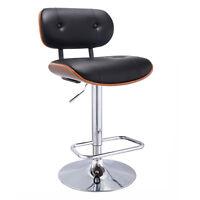 Adjustable Swivel Bentwood Bar Stool PU Leather Tufted Barstool Pub Chair New