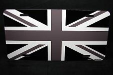"BRITISH FLAG METAL LICENSE PLATE FOR CARS BLACK AND WHITE FORMAT... ""UNION JACK"""