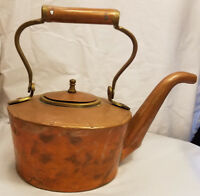 Soundry Hammered Copper Tea Pot Kettle With Lid Oval Long Spout Made in India