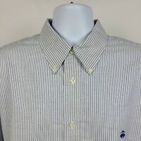 Brooks Brothers Regent Non Iron Blue White Oxford Striped Mens Dress Shirt XL