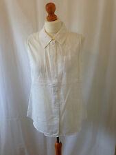 (102) Boden white lightweight cotton sleeveless shirt size UK 8R