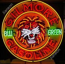 "24""X24 Rare GILMORE OIL LION BLU GREEN GASOLINE GAS OIL STATION NEON SIGN LIGHT"