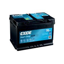 1x Exide Stop Start 70Ah 760CCA 12v 067 AGM Car Battery 4 Year Warranty - EK700