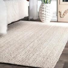 Natural Jute Rug Floor Mat Home Living Dhurrie White Dye 6x9 Feet reversible Rug