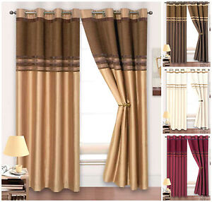 Ring Top Fully Lined Faux Silk Stripe Chenille Curtains Heavy Weight Curtains