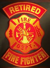 FIRE FIGHTER FIRE DEPARTMENT RETIRED MOTORCYCLE BIKER IRON ON LOT OF 3 PATCHES