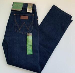Wrangler RETRO Patch Men's 34 x 34 Slim Straight Stretch Denim Blue Jeans NEW