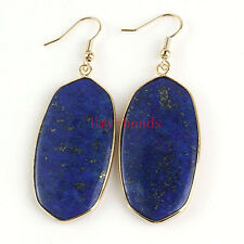 Yellow Gold Plated Natural Lapis Lazuli Gemstone Drop Dangle Hook Women Earrings