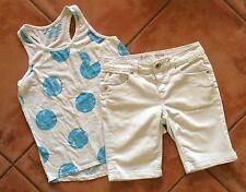 ☀️Lot 2 Justice Old Navy Girls Summer Tank Top Shirt & Denim White Jean Short 14