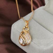 Fashion Women Lady Crystal Charm Pendant Long Chain Necklace Gold Plated Jewelry
