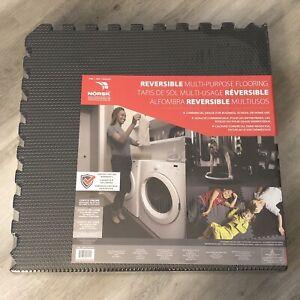 Norsk Reversible Multi-Purpose Flooring 12 Pieces Grey/Black Floor Mat 48 sq ft