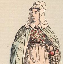 Ancienne gravure aquarellée costume populaire Creuse département