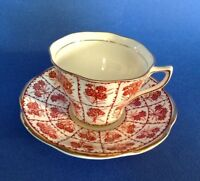 Rosina Tea Cup And Saucer  - Red Latticework With Flowers - Gold Rims - England