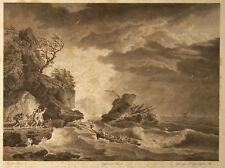 NAUFRAGIO Shipwreck Naufrage - Incisione Originale 1800 Vernet Dequevauviller