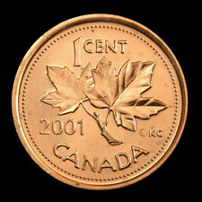 (3-coins) 2001  Canada   1 cent     MS-63  coin from roll