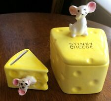 """Sunny Yellow """"Stinky Cheese"""" Ceramic Lidded Box Vintage Mouse Holding Nose 3 Pc"""