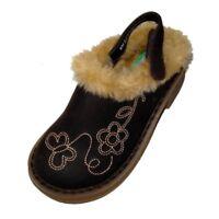 Carters Toddler Girls Brown Fur Trimmed Clogs Dress Shoes