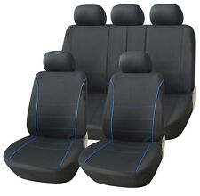 VW VOLKSWAGEN PASSAT ESTATE 11-ON BLACK SPORT SEAT COVERS WITH BLUE PIPING