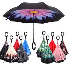 C-Handle Parasol Folding Rain Windproof Umbrella Double Layers Inverted Reverse