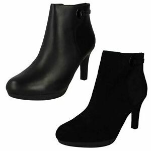 Ladies Clarks 'Adriel Mae' Smart Heeled Ankle Boots With Zip