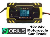Orius 12V/24V 8A Intelligent Smart Car Battery Charger Pulse Repair AGM EFB AFB