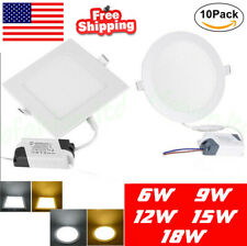 10Pack Led Recessed Lighting Panel Ceiling Down Light  Round Square Downlights