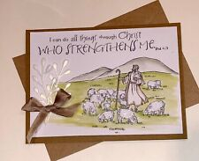 """4 INSPIRATIONAL Card Kit Phil 4:13 """"All things thru Christ"""" Stampin Up Peace Set"""