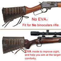 Leather Rifle Gun Buttstock Ammo Holder Cheek Rest Pad, Cartridge Shell Holder