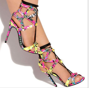 Women Sandals High Heel Peep Toe Hollow-out Stilettos Roma Gladiator Party Shoes