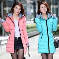 New Women Winter Coat Down cotton jacket hooded Long ladies coat parka outwear