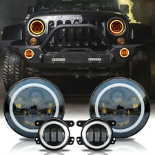 LED Halo Headlights+LED Fog Light DRL Combo Kit For Jeep Wrangler JK 2007-2018