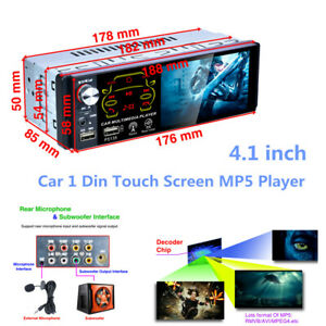 """Car 4.1"""" 1 Din Touch Screen MP5 Player Steering Wheel Control Set MP3 USB Unit"""