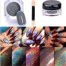 2g/Box Glitter Holographic Laser Powder Nail Rainbow Chrome Pigments Decor+Brush