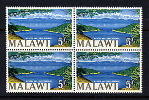 MALAWI 1965 5 Shillings BLOCK OF 4 Revised Inscription  LAKE MALAWI SG 225a MNH
