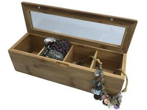 Bamboo Jewellery Box Caddy Organiser, Sewing Box Storage