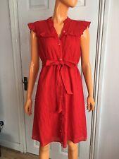 Ella Moss Red Glitter Full Front Button Ruffle Sleeveless Dress Size M UK8-10