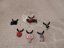 """BASKETBALL """" SET OF 6 HANDCRAFTED"""" Wine Glass Charm drink markers"""