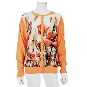 NEW Paramount Peach Orange Floral Jumper Cardigan Sz XL Long Sleeve Button