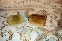 MEXICO ONYX MARBLE VANITY TRINKET BOXES SHELL SHAPED CARVED FOOTED MID CENTURY