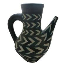 Mid Century Italian Abstract Herring Bone Studio Art Pottery Pitcher As Is
