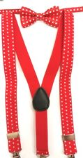 """Baby/Toddler's Red Dot Bowtie & Matching Red Dot 25"""" Adjustable Suspenders"""